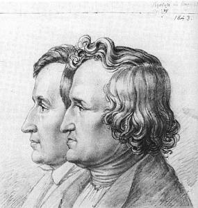 Jacob und Wilhelm Grimm, 1843, Portrait von Ludwig Emil Grimm